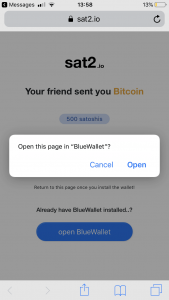sat2.io bluewallet open request