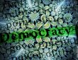 Psychedelic background with the word 'democracy' highlighted