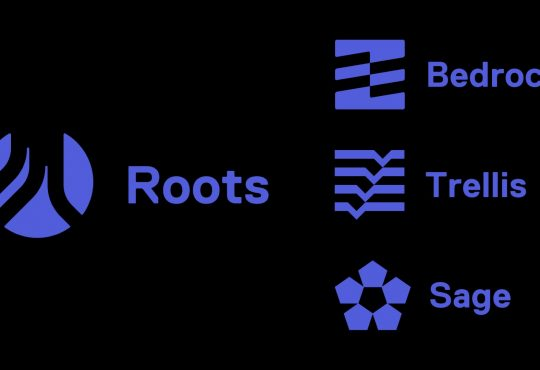 Picture of roots.io ecosystem logos on black background