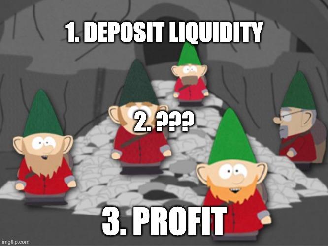 1. deposit liquidity, 2. ???, 3. Profit